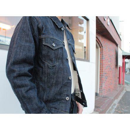 ONI02207PKIRAKUII 12oz Kiraku-II Natural Indigo 3rd Type Jacket with hand-warmer pockets